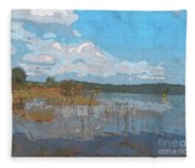 Kayaking At Lake Juliette Fleece Blanket
