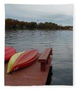 Kayaks By The Lake Nj Fleece Blanket