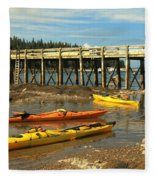 Kayaks By The Pier Fleece Blanket