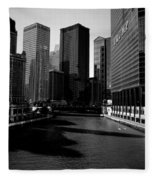 Kayaks On The Chicago River - Black Fleece Blanket
