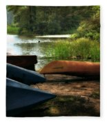 Kayaks On The Shore Fleece Blanket