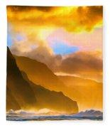 Ke'e Beach Sunset Fleece Blanket