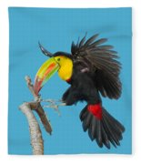 Keel-billed Toucan About To Land Fleece Blanket