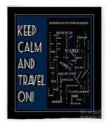 Keep Calm And Travel On Nova Scotia Crosswords Fleece Blanket