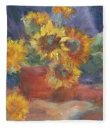 Keep On The Sunny Side - Original Contemporary Impressionist Painting - Sunflower Bouquet Fleece Blanket