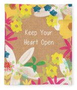 Keep Your Heart Open Fleece Blanket
