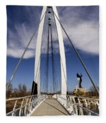 Keeper Of The Plains Bridge View Fleece Blanket
