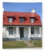 Keeper's House - Presque Isle Light Michigan Fleece Blanket