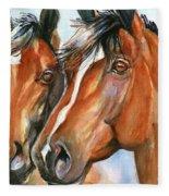 Horse Painting Keeping Watch Fleece Blanket