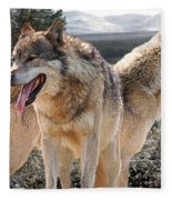Keeping Watch - Pair Of Wolves Fleece Blanket