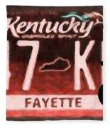 Kentucky License Plate Fleece Blanket