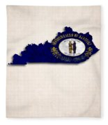 Kentucky Map Art With Flag Design Fleece Blanket