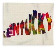 Kentucky Typographic Watercolor Map Fleece Blanket