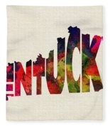 Kentucky Typographic Watercolor Map Fleece Blanket