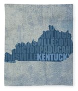 Kentucky Word Art State Map On Canvas Fleece Blanket by Design Turnpike