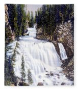 Kepler Cascades Yellowstone National Park Fleece Blanket