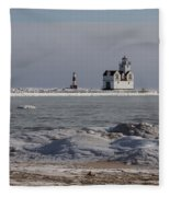 Kewaunee Lighthouse In Winter Fleece Blanket