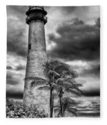 Key Biscayne Fl Lighthouse Black And White Img 7167 Fleece Blanket