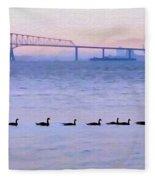 Key Bridge And Waterfowl Fleece Blanket