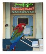 Key West - Parrot Taking A Break At Margaritaville Fleece Blanket