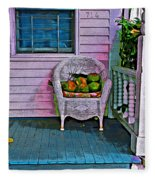 Key West Coconuts - Colorful House Porch Fleece Blanket