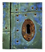 Keyhole On A Blue And Green Door Fleece Blanket