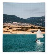 Kid Sailing On A Lake Fleece Blanket
