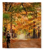 Kid With Backpack Walking In Fall Colors Fleece Blanket