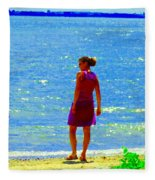 Kids Playing On The Seashore Mom And Little Boys Pointe Claire Montreal Waterscene Carole Spandau Fleece Blanket