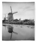 Kinderdijk In Black And White Fleece Blanket