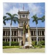 King Kamehameha In Leis Fleece Blanket