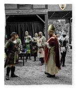 King Macbeth Of Scotland With The Bishop Fleece Blanket