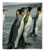 King Penguins Coming Ashore Fleece Blanket