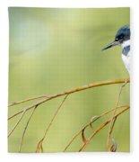 Kingfisher On A Willow Fleece Blanket