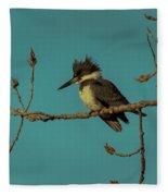 Kingfisher On Limb Fleece Blanket