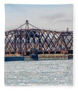Kinnickinnic River Swing Bridge Fleece Blanket