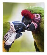 Kissing Macaws Fleece Blanket