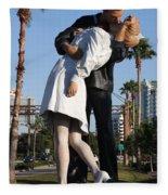 Kissing Sailor - The Kiss - Sarasota Fleece Blanket