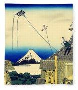 Kite Flying Over Mount Fuji Fleece Blanket