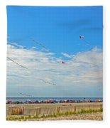 Kites Flying Over The Sand Fleece Blanket