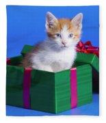 Kitten In Gift Box Fleece Blanket