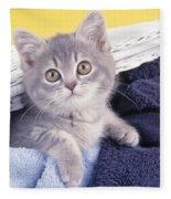 Kitten In Laundry Fleece Blanket