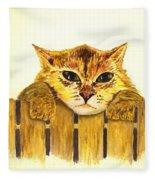 Kitten On Fence Fleece Blanket