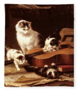 Kittens Playing With A Guitar Fleece Blanket