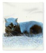 Kitty Blue IIII Fleece Blanket