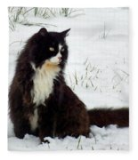 Kitty Cat In The Snow Fleece Blanket