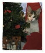 Kitty Says Happy Holidays Fleece Blanket