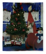 Kitty Says Merry Xmas Fleece Blanket