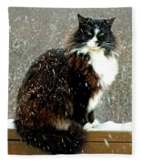 Kittycat In The Snow On The Fence Fleece Blanket