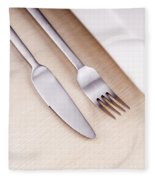 Knife Fork And Plate Fleece Blanket